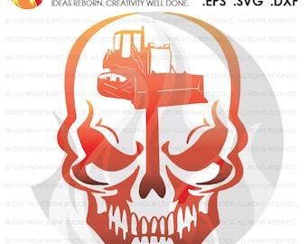 Digital File, Skull, Construction Worker, Bulldozer, Tractor, Bob Cat, Construction, Excavator, Digger, Worker, Digging, Grading, SVG File