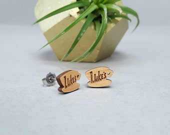 Luke's Diner Earrings - Gilmore Girls - Laser Engraved on Alder Wood - Titanium Post Stud Earring Pair