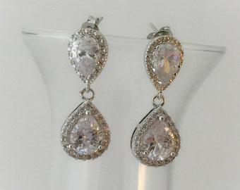 Bridesmaid jewelry , silver post bridal earrings, crystal earrings,  brides earrings, bridal party jewelry
