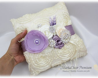 Wedding Beaded Luxury Ring Pillow Bridal Jeweled Custom Bearer Boy Pillow in Ivory and Lavender Lilac