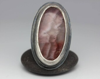 Pink Agate Ring, Sterling Ring, Unique Gemstone, Boho Ring, OOAK Statement Ring, Size 7