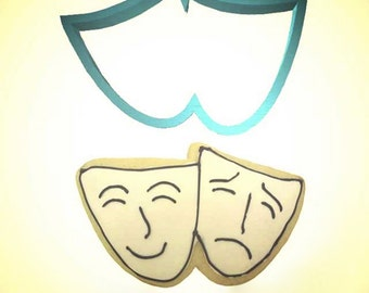 Theater Drama Mask Cookie cutter,  comedy and tragedy Masks cookie cutters, 4""
