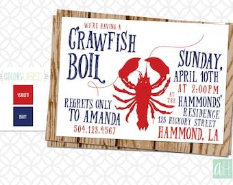 Printable CRAWFISH BOIL Invitation, Customize, Southern Invitation