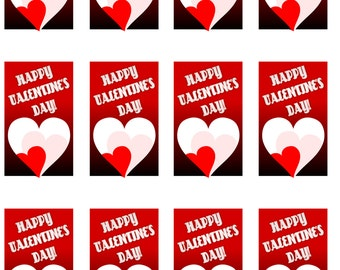 Happy Valentine's Day Printable Cards (12 per sheet)