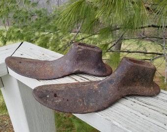 Pair of Cast Iron Shoe Last Size 10 Shoe Forms Cobbler Tools Bookends Door Stop