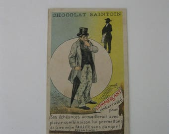 Victorian Trade Card - CHOCOLAT SAINTOIN - Orleans - Paris, France - Well Dressed Man with Umbrella - 1895