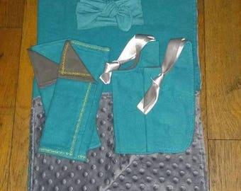 Baby gift set - Teal and Grey - Baby blanket, bib, burp cloth