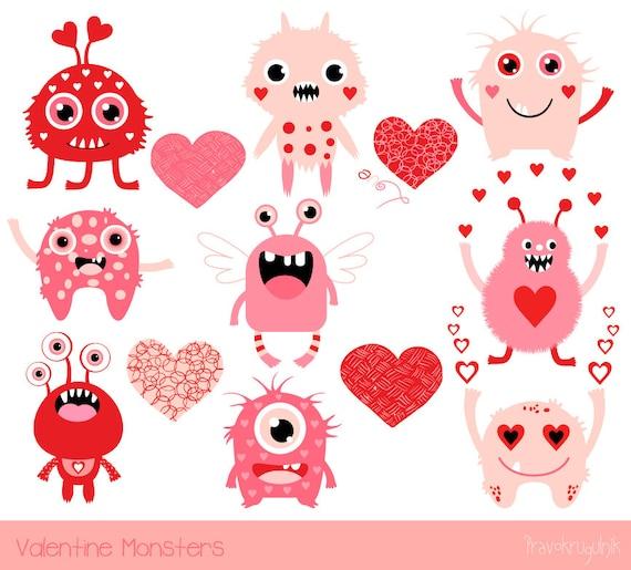 cute valentine monsters clipart kids valentine clipart pink rh etsy com Animal Valentine Clip Art cute valentine's day clipart