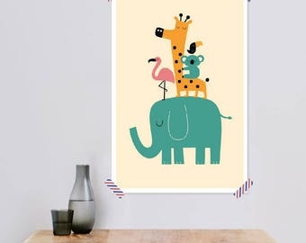 """JUNIQE ® Children's room-design """"moving on""""-murals, framed pictures & Framed Posters-Children's pictures-designed by Andy Westface"""