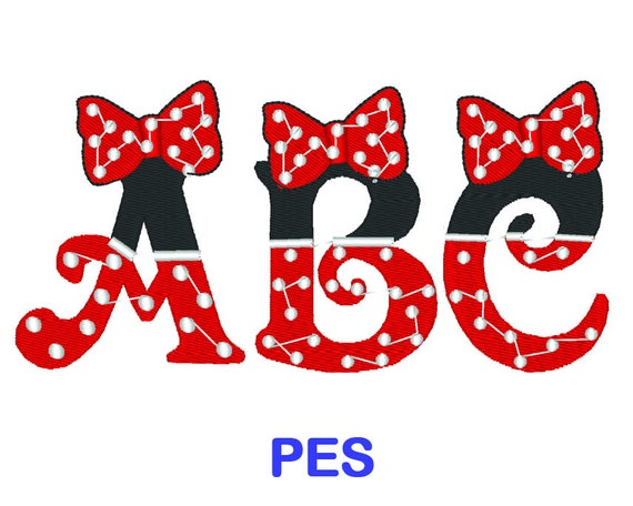 minnie mouse font minnie mouse embroidery font disney pes format embroidery 6364