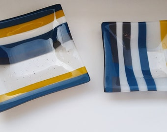 Blue and Yellow Glass Plates Set of 2