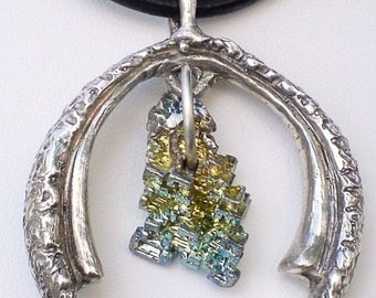 Good Luck Horseshoe Bismuth Crystal Pendant Necklace Cast in Sterling Silver; One-of-kind Design Anniversary Gift for her; Workplace Jewelry