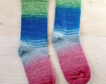 Granny's Cranky Knit Socks - Handmade Cozy - Blue Pink and Green - Womens Small - WOOL/NYLON