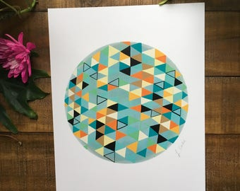 Abstract art print, triangle, circle, teal and orange  watercolor painting, illustrated,  archival,  design