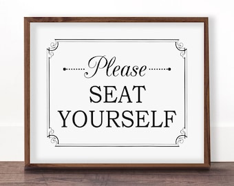 Funny bathroom art, Please seat yourself, Bathroom wall decor, Funny bathroom printable, Bathroom art, Toilet sign, Seat yourself sign, Cute