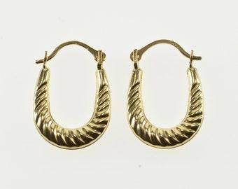 10K Scalloped Twist Puffy Oval Hoop Earrings Yellow Gold