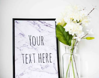 Personalised Quote Marble Print A5 A4 A3