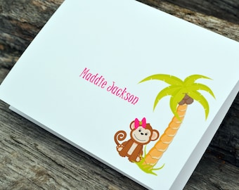 Personalized Girly Monkey Set of Note Cards