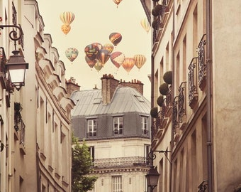 Hot Air Balloons, Paris Photography, Paris Wall Art, Large Wall Art Print, Fine Art Photography Print, Wall Decor, Travel, Beige Print, 8x10