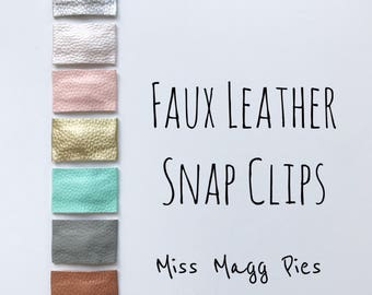 Faux Leather · Snap Clip / Trendy Hair Clips / Barrettes / Toddler Hair Accessory / Silver / Gold / Blush / Brown / Pearl Pink / Gray / Spa