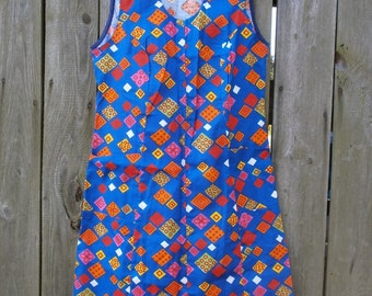 vintage summer dress  colorful abstract  print  size L