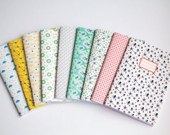 Notebook Set - Set of 3 blank notebooks journals - School supplies - Choose your Cahier Cover Pattern - Cute Paper Goods