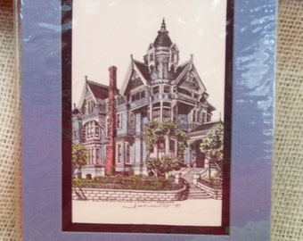 Vintage Lithograph Haas-Lilienthal House 2007 Franklin St San Francisco CA Hand Painted Signed Mark Monsarrat Double Matted 5 x 7 inches