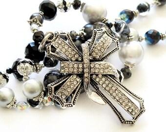 Silver black long beaded necklace silver cross handmade