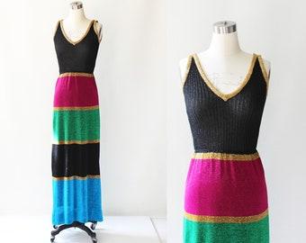 1970s Laura Aponte Metallic Striped Knit Maxi Dress // 70s Vintage Long Tank Dress Made in Italy // Small - Medium