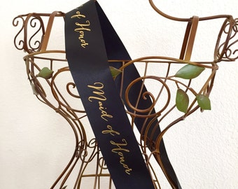 """Signature Script Maid of Honor or Matron of Honor Sash 2.5"""" - Black or White with Gold Print"""