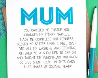 Funny Mother's Day Card for Mum - Funny Mothers Day Card - mum birthday card - mom birthday card - funny mum card - mum cards - mom cards