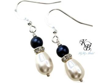 Bridesmaid Earrings, Blue Pearl Earrings, Blue Earrings, Bridal Earrings, Pearl Earrings, Something Blue, Wedding Jewelry, Sterling Silver