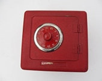 vintage Superior Toy & Mfg. Co red metal bank safe with combination vintage toy safe