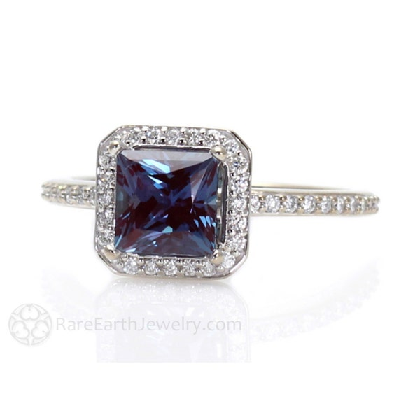 princess alexandrite engagement ring matching band diamond halo wedding set 14k 18k gold platinum or palladium - Alexandrite Wedding Ring