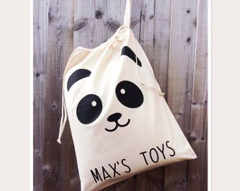 Personalised Panda Kids Toy Storage Bag
