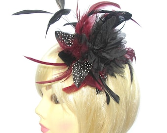 Black and burgundy fascinator comb, for special events