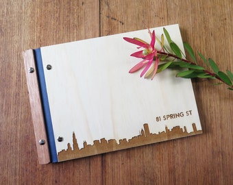 Housewarming Gift. Guest Book. Airbnb. New Home. Custom Wood Book. Signing Book