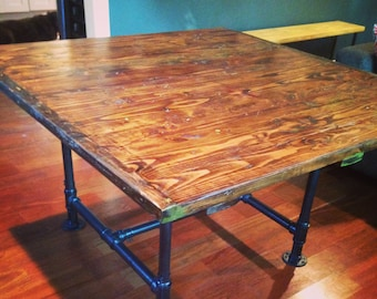 Industrial Kitchen Table with Rustic Table Top