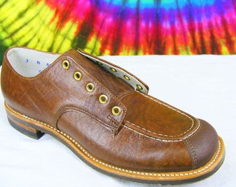 ladies 4 B vintage 50's brown leather lace-up flat oxfords granny shoes NOS