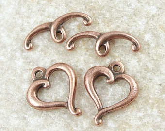 Heart Toggle Copper Toggle Clasp Findings Antique Copper Clasp Set TierraCast Jubilee Toggle for Copper Jewelry Valentine's Day  (PF153)