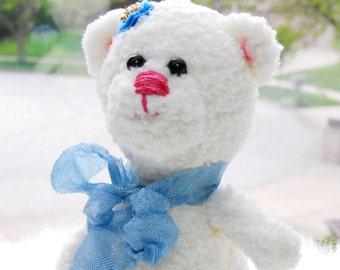 Plush bear, softie stuffed bear, cute bear, tiny bear, little bear, miniature amigurumi bear, hand knit bear, Handmade bear Crocheted bear