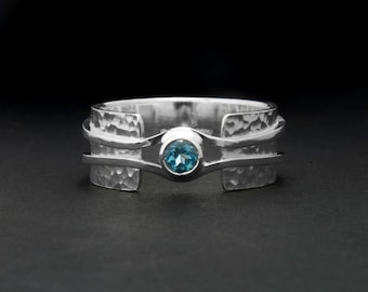 wide band ring, hammered silver ring, blue topaz ring, unique ring, statement ring, alternative engagement ring