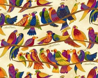 Wild Ones Flannel by Laurel Burch Clothworks Cotton Fabric Y2330-57 Cream Birds Free shipping U.S.