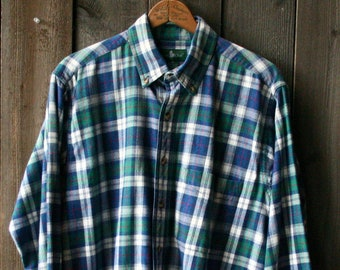 Flannel Shirt Medium Blue Green White Hunt Club Vintage from Nowvintage on Etsy