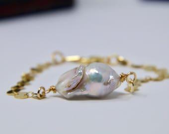 Wire Wrapped Keshi Pearl Bracelet. Pearl Bracelet. Keshi Pearl