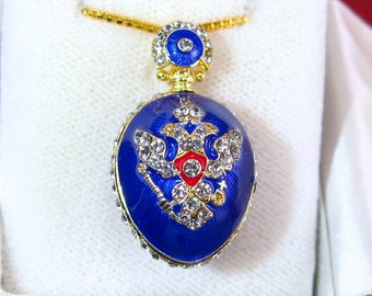 """Russian """"DOUBLE-HEADED EAGLE""""! Large Guilloché enamel Faberge style egg-shaped pendant, 925 sterling silver, Swarovski crystals, 24k gold"""