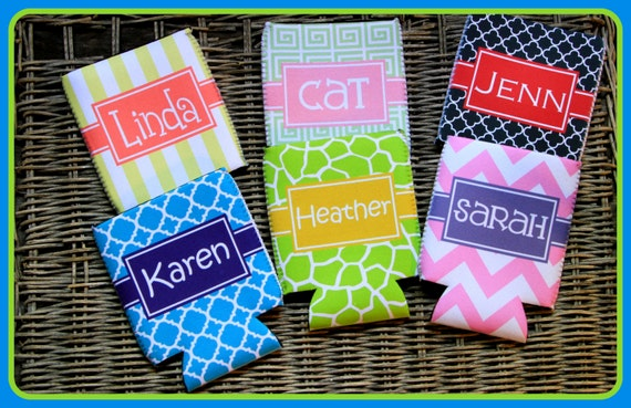 Custom Can Coolers, Personalized Monogram Coolies, Bridal Party Gifts Bachelorette Party Bridesmaids Best Friend Gift Beverage Insulators