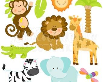 Safari Jungle Animals Cute Digital Clipart - Commercial Use OK - Safari Animal Clipart, Safari Animal Graphics, Safari clip art