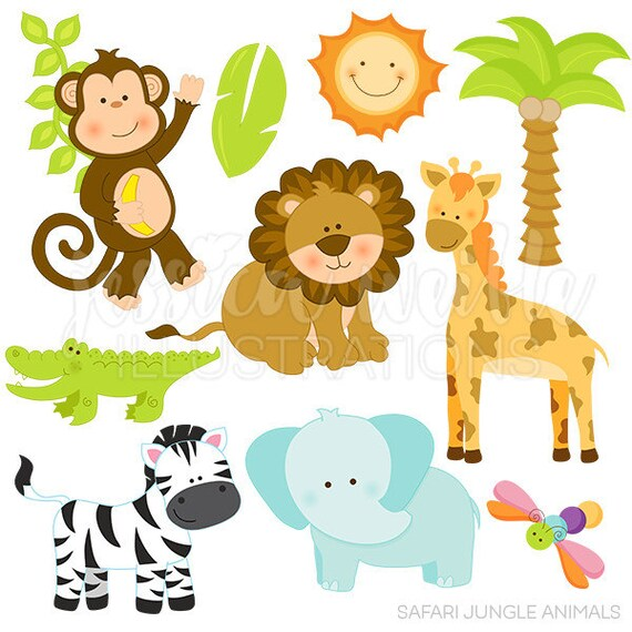 safari jungle animals cute digital clipart commercial use ok rh etsy com baby safari animals clipart safari animals clip art free