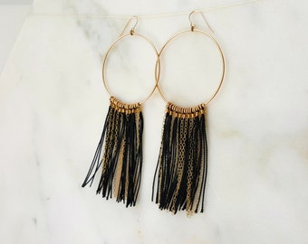 Gold and Black Fringe Hoops